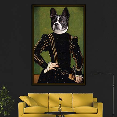 Geiqianjiumai Estilo Retro decoración del hogar Animal Lienzo Pintura Ciervo Gato Perro Retrato póster impresión nórdico Mural Dormitorio Imagen sin Marco Pintura 40x50 cm
