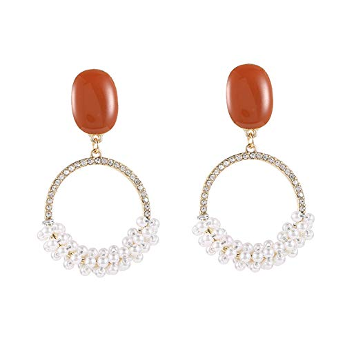 JINGM Boucles d'oreilles À Gland De Mode Boucles d'oreilles À Gland en Perles Rondes Géométriques Boucles d'oreilles en Perles Populaires pour Femmes Bijoux