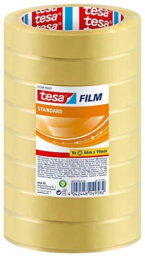 tesafilm standard - Transparentes Multifunktions-Klebeband für Heim- Schul- und Büroanwendungen -66 m x 19 mm - 8er Pack