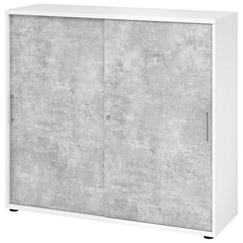 Büromöbel Experte Schiebetürenschrank Büroschrank Aktenschrank 3 Ordnerhöhen Weiß-Beton Metallgriff Holztüren 2 Fachböden