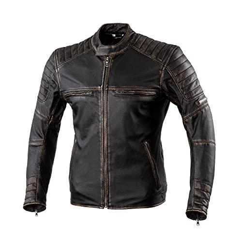 REBELHORN Hunter Pro Chaqueta de moto de cuero vintage para uso informal...