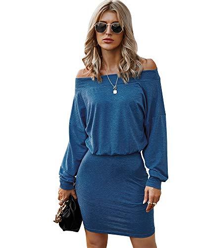 Night Club Sexy Dress, Summer Off Shoulder Elastic Waist 2 Piece Stretch Party Go Out Mini Bodycon Dress for Women Blue