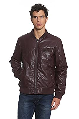 Members Only Faux Leather Oval Quilted Bomber (X-Large, Burgundy)