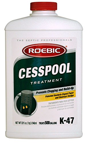 Roebic K-47-Q Cesspool Treatment Prevents Clogging and Buildup, Exclusive Biodegradable Bacteria Digests Paper and Destroys Sludge, 32 Ounces