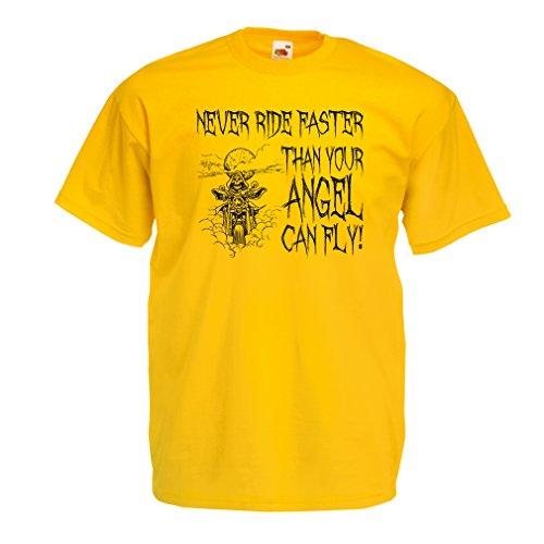 N4694 Männer T-Shirt Motorrad-Angebote (Small Gelb Mehrfarben)
