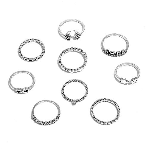 9pcs Boho Women Star Angle Charm Knuckle Ring for Women Street Jewelry Gift