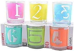 Cerve Confezione da 6 Bicchieri Acqua bibita Cocktail Numeri in Vetro con Decoro Multicolore 22cl