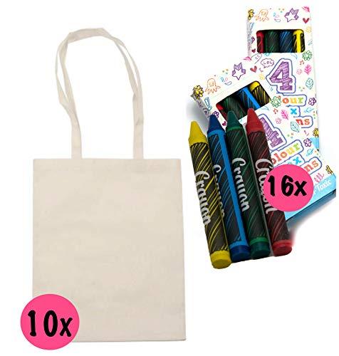 L+H Stoffbeutel zum bemalen für Kinder | 10x Stofftasche und 16x Textilstifte | hochwertig verarbeitet | ideal für den Kindergeburtstag | Kindergarten Stofftasche Jutebeutel zum beschriften