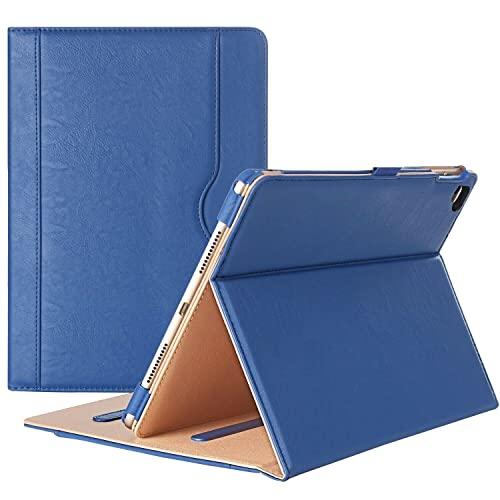 Aurakiz Black & Tan iPad 9.7 Case 2018 2017 (6a generazione/5° generazione) / iPad Air 2 / iPad Air - Custodia a libro in pelle PU esecutiva con tasca porta documenti (blu navy & tan)
