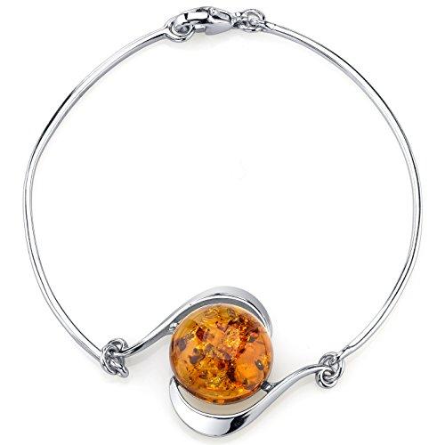 Baltic Amber Solitaire Bangle Bracelet Sterling Silver Cognac Color