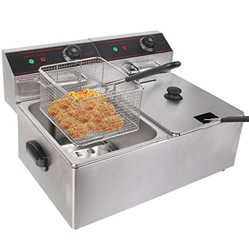 Cypress Shop Dual Tank Electric Fryer 5000W Countertop Deep Frying Commercial Home Restaurant Steel Cooking Utensil Professional Stainless Steel Cookware Crispy Food