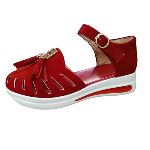 Wresella Damenmode Wedge Fringe Buckle Strap Sandalen, Damen Cusual Solid Hausschuhe, Schuhe für Einkaufen Strand Tägliche Reise