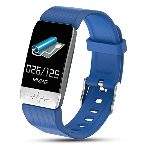 Pulsera inteligente IP67 impermeable/a prueba de golpes, frecuencia cardíaca/temperatura/ECG monitor de presión arterial pulsera deportiva adecuada para adultos/niños (azul)