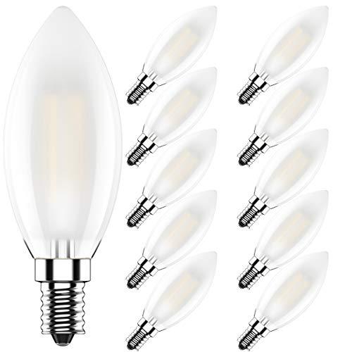 10er 4W Dimmbar LED Lampe in Kerzenform mit E14 Fassung,Ersetzt 40 Watt,LED Filament Kerze Birne Milchglas Warmweiß 2700K,400LM,CRI >80