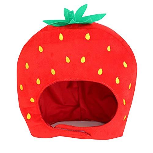 Tianhaik aardbeienvorm hoofddeksel rekwisieten voor make-up party foto cosplay kostuum grappig cadeau pluche hoofddeksels