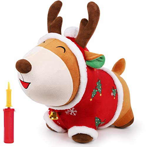 iPlay, iLearn Bouncypals Christmas Reindeer Hopper, Plush Ride on Hopping Toy W/ Bell, Inflatable Indoor n Outdoor Jump Bouncy Horse, Xmas Gift for 18 24 Month, 2 3 4 Year Olds, Kid Boy Girl Toddler