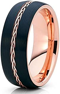 Rose Gold Tungsten Wedding Ring,8MM Black Tungsten Ring,18k Rose Gold,Braid Wedding Ring,Tungsten Carbide Ring,Unique Tungsten Ring,Rose Gold Ring,Anniversary Ring,Engagement Ring,Comfort Fit