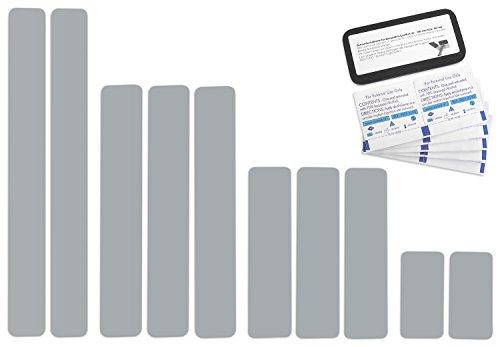 Selbstklebende Planenreparatur Tapes | 10 teilig | Easy Patch Comfort 50mm | Für Zelte, Planen uvm. | Silber RAL 9006