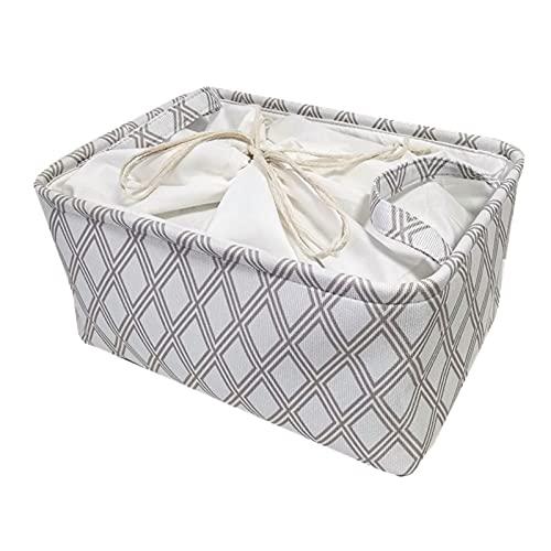 xiangqian Cajas de almacenamiento, cesta de almacenamiento con asas, recipiente de almacenamiento, marco de acero para ropa de cama, mantas, almohadas, zapatos, organizador