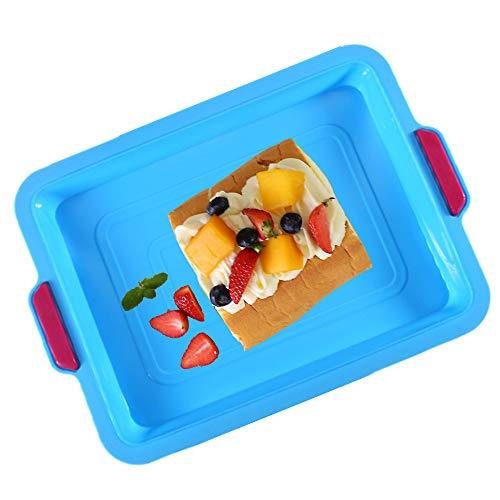 KeepingcooX® Antihaft-Brownie-Pfanne, 34 x 24 x 3 cm   Großes Backblech/rechteckiges Kuchenblech zum Backen mit Griffen, zweifarbig, wiederverwendbares Silikon, Grün/Blau