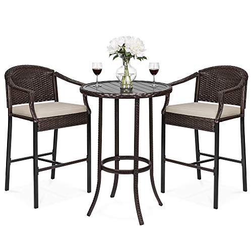 Best Choice Products 3-Piece Outdoor Wicker Bar Height Table Set w/Bar Stools, Cushions, Steel Frame