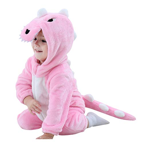 Flanell-Schlafanzug für Babys, für Herbst und Winter, langärmelig, Dinosaurier, Tierkostüm, Mantel mit Kapuze für Jungen Mädchen, Pink 80 cm(18-24 Monate)