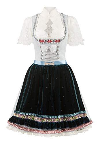 Lola Paltinger Couture Dirndl Lena bleu-Midnight blau Leinen Samtschürze Tracht (blau, 34)