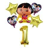 JSJJAEA Globos 6 unids Dora The Explorer Balloons Blowoon Boots Boots Globs Niños Fiesta de cumpleaños Regalo Decoración Decoración Juguetes Número Globo decoración (Color : Gold1)