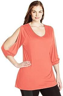 Paper + Tee Women's Plus Size V-Neck Slit Sleeve Hi/lo Hem Top