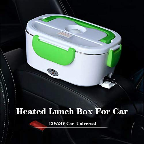 Car Electric Lunch Box, Portable Food Warmer Heater, Food-Grade Stainless Steel Tray, 12V