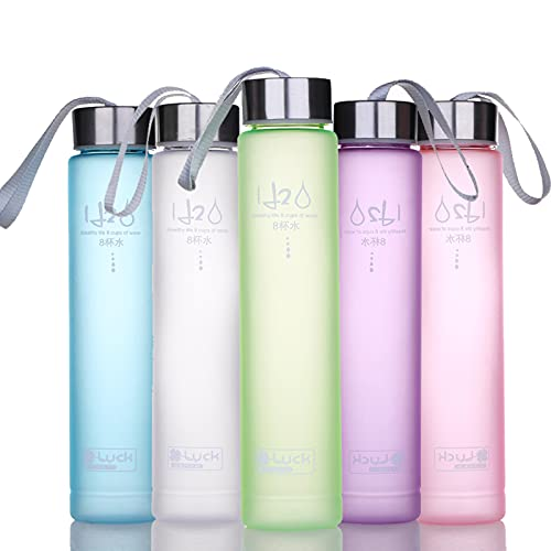 Botella de agua deportiva de plástico libre de BPA con boca ancha y tapa a prueba de fugas para correr, gimnasio, yoga, al aire libre, 280 ml