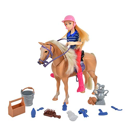 Sunny Days Entertainment Palomino Horse with Rider - Playset with 14 Realistic Grooming Accessories and Sounds | Blonde Doll in Riding Outfit | Horse Toys for Girls and Boys - Blue Ribbon Champions