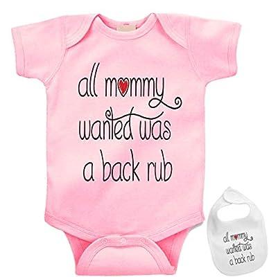 All Mommy Wanted was a Back rub Custom Baby Bodysuit Onesie & Matching bib Pink