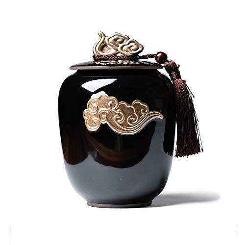 Funeral Urna Urnas de cremación caja de entierro Para una pequeña cantidad de cenizas humanas Sellado contra la humedad. Material ceramico ornamentación dorada patrón de relieve delicado Forma