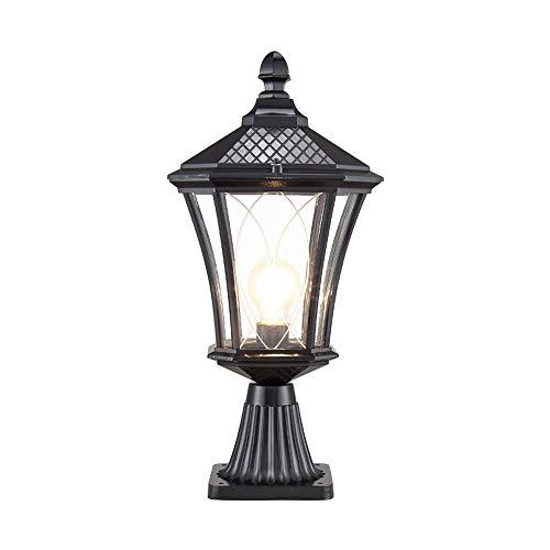 MYXMY Europeo Impermeabile Colonna LED fari da Parete Luce Antica Villa Esterna LED pilastro Post lampade decking e Patio Illuminazione paesaggistica Classico Alluminio Squisito lampione Deco