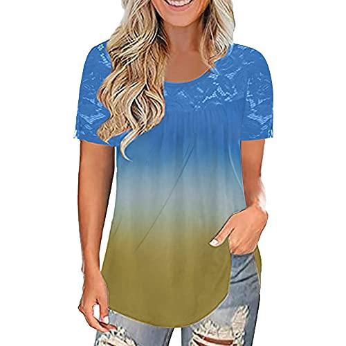Mayntop Camiseta de verano para mujer, de manga corta, cuello redondo, de fibra de leche, color liso, plisada, suelta, con cuello redondo, para mujer, B-blue Yellow, 40