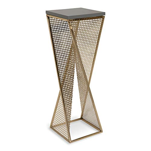 Kate and Laurel Elita Gray Wood and Metal Pedestal End Table, 10' x 10' x 30', Gray and Gold, Chic...