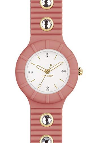 Orologio HIP HOP donna CRYSTAL quadrante bianco e cinturino in silicone, glam arancione, movimento SOLO TEMPO - 3H QUARZO