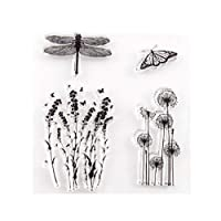 HEALLILY クリアバタフライスタンプシリコンスタンプカード作りのための装飾花スタンプdiyスクラップブッキングフォトアルバム日記装飾
