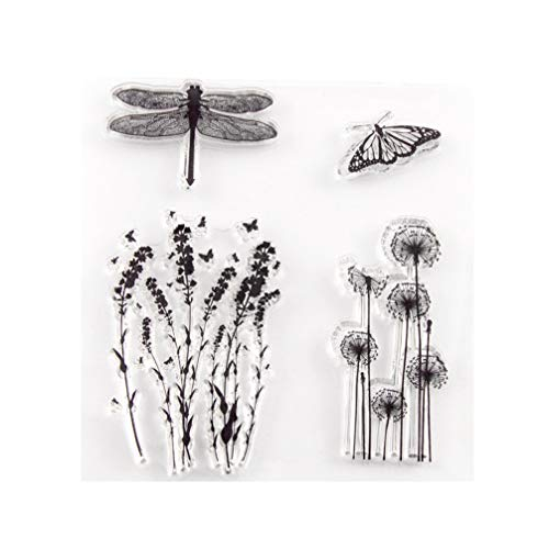Healifty Clear Butterfly Stamps Silicone Stamps Decorative Flower Stamps for Card Making DIY Scrapbooking Photo Album Diary Decoration