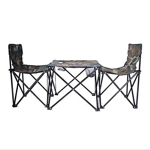 Plegable Playa Mesa plegable y silla Conjuntos Conjuntos ocio al aire libre que acampa Presidente y tres de Sillas bosquejo camuflaje, se pliega for caber en la mayoría de maletero del automóvil Silla