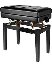 Neewer NW-007 Verstelbare deluxe gewatteerde pianobank - lederen kruk zonder rug met opbergvak, massief hardhouten constructie met draagvermogen tot 110 kg (zwart)