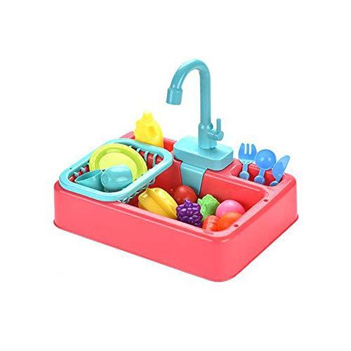 NIWWIN Juego de Juguetes para Fregadero de Cocina para niños, Regalos educativos, Juguete de simulación para niños, niñas, lavavajillas de simulación, Agua Corriente, Grifo y desagüe (Rosa)