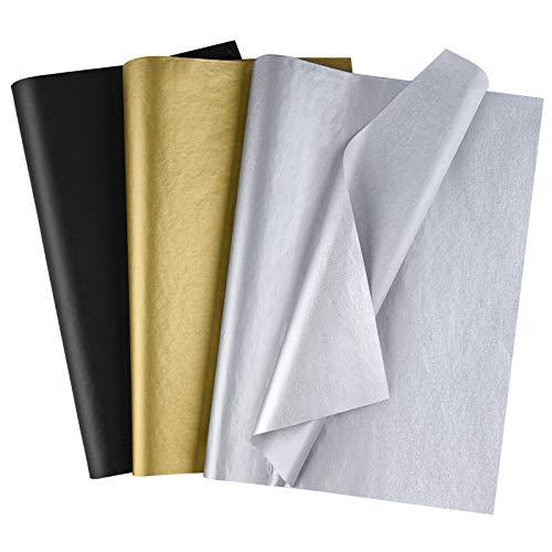 MIAHART 50 fogli di carta velina sfusa 35x50 cm di carta da regalo metallizzata e nera Accessori per confezioni regalo Avvolgere per la festa di compleanno di laurea Decorazione per bomboniere