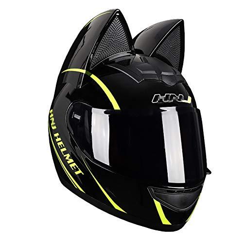 JJXD Full Face Motorcycle Helmet with Cat Ears Flip Visor Modular Motorcycle Full Helmet, ATV Motorcycle Mountain Bike Cross-Country Motorcycle Helmet DOT Certification,XL