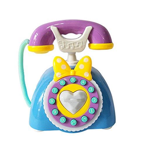 Black Temptation Simulation des Enfants Mignons Princesse Téléphone Jouet Landline-Blue