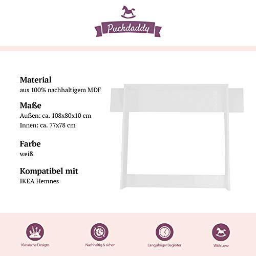 Cambiador Puckdaddy Marius - 108x80x10 cm, Cambiador de Madera en Blanco con Panel, Cambiador Adecuado para Las cómodas Hemnes de IKEA
