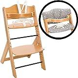 Hochstuhl SET aus massivem Holz inklusiv Sitzpolster verstellbar mitwachsend Treppenhochstuhl