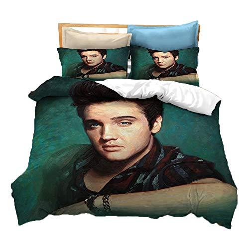 UNILIFE 3-teiliges Bettwäsche 3D Elvis Presley Bettbezug mit Kissenbezug Anti-Allergie-Mikrofaser-Bettwäscheset mit Reißverschluss