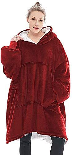 Prettyui - Flannel Hoodie Couverture Chaude Douce Robe Sweat Pull avec des Manches Velvet Épaisse Plaid Couverture, Sweat à Capuche Super Doux Chaud Confortable Taille Unique (Rouge)